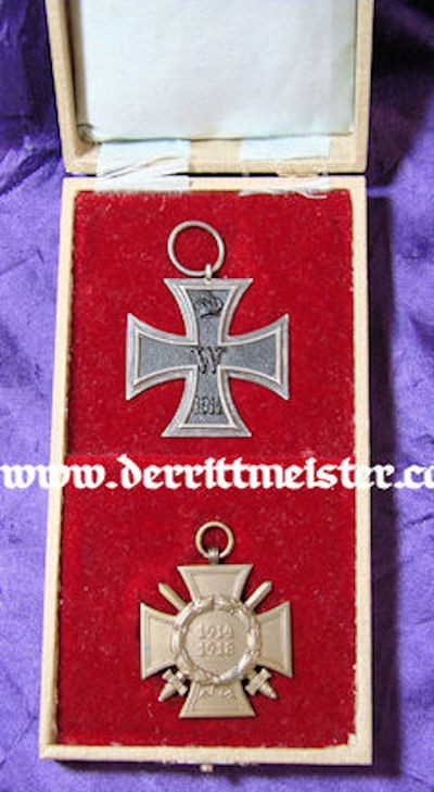 IRON CROSS - 1914 - 2nd CLASS & HINDENBURG CROSS WITH SWORDS FOR COMBATANTS IN DELUXE PRESENTATION CASE