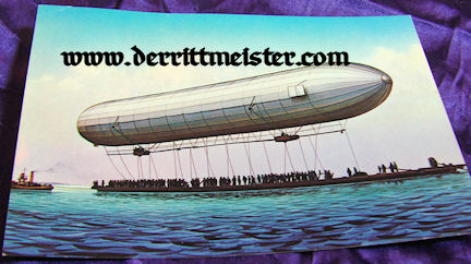COLOR POSTCARD - TOWED EARLY ZEPPELIN - LAKE KONSTANZ - FRIEDRICHSHAFEN - Imperial German Military Antiques Sale