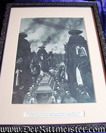FRAMED PHOTOGRAPH - GRAF FERDINAND von ZEPPELIN'S FUNERAL CORTEGE - Imperial German Military Antiques Sale