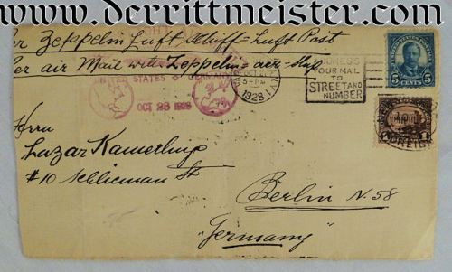 ENVELOPE FLOWN ON FIRST USA-TO-GERMANY ZEPPELIN FLIGHT - Imperial German Military Antiques Sale