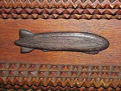 GERMANY - PATRIOTIC BOX - ZEPPELIN - WOOD - Imperial German Military Antiques Sale