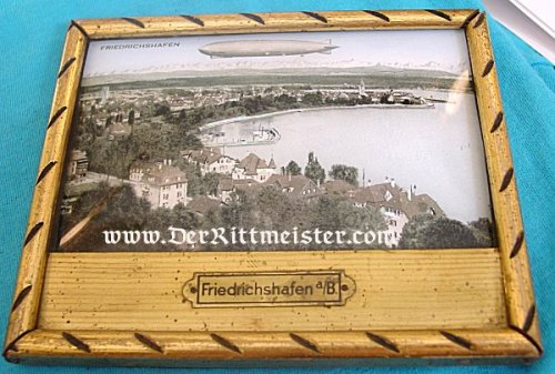 GERMANY - PHOTOGRAPH - FRAMED - HAND COLORED - FRIEDRICHSHAFEN WITH A ZEPPELIN - Imperial German Military Antiques Sale