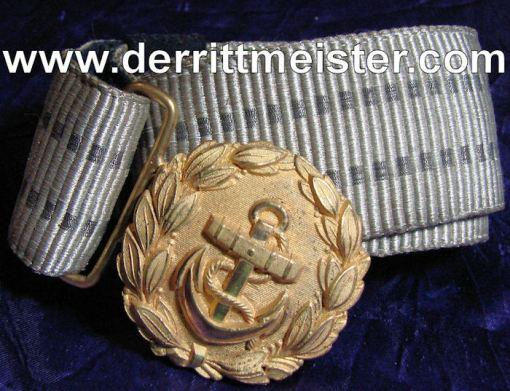 REICHSMARINE OFFICER - BROCADE BELT - BUCKLE - Imperial German Military Antiques Sale