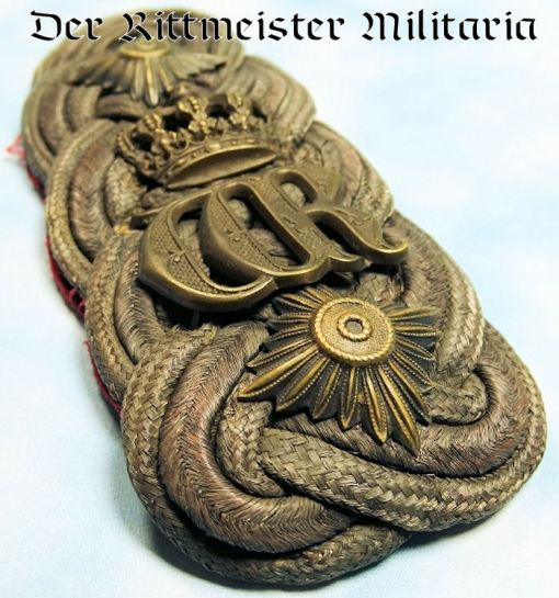 PRUSSIA - SHOULDER BOARD - GENERAL der INFANTERIE - KAISER WILHELM II'S ROYAL CYPHER - Imperial German Military Antiques Sale