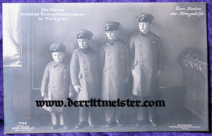POSTCARD - FOUR SONS - KRONPRINZ WILHELM - KRONPRINZESSIN CECILIE - Imperial German Military Antiques Sale