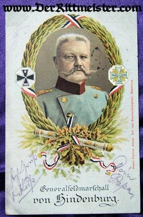 COLOR POSTCARD - GENERALFELDMARSCHALL PAUL von HINDENBURG - Imperial German Military Antiques Sale