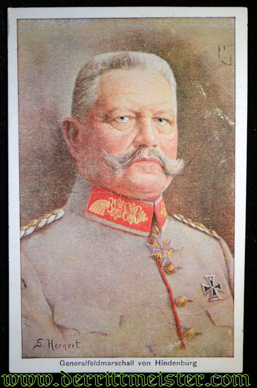 COLOR POSTCARD: GENERALFELDMARSCHALL PAUL von HINDENBURG - Imperial German Military Antiques Sale