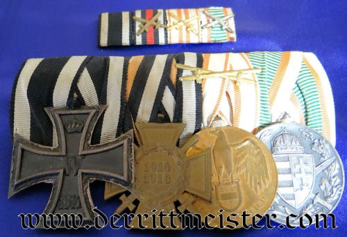 MEDAL BAR - FOUR PLACE WITH MATCHING RIBBON BAR - Imperial German Military Antiques Sale