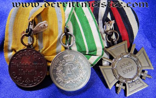 SAXONY - MEDAL BAR - THREE PLACE - Imperial German Military Antiques Sale