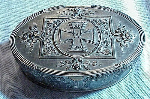 GERMANY - PATRIOTIC KEEPSAKE BOX - ZINC - Imperial German Military Antiques Sale