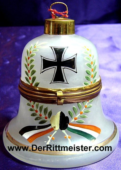 PATRIOTIC BOX - FROSTED HAND PAINTED GLASS BELL SHAPED - Imperial German Military Antiques Sale