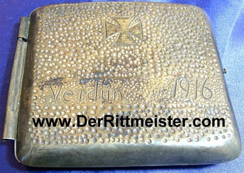 """GERMANY - CIGARETTE CASE - featuring an Iron Cross and """"Verdun 1916 - Imperial German Military Antiques Sale"""