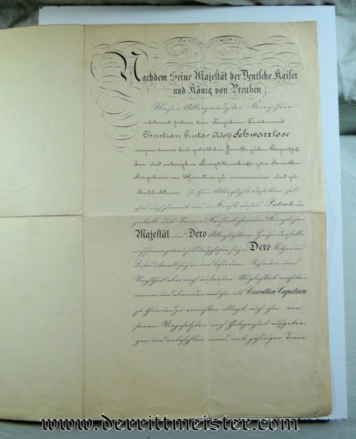 PROMOTION PATENT - OFFICER'S NAVAL  - SIGNED BY KAISER WILHELM I - Imperial German Military Antiques Sale