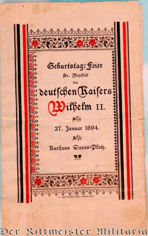 SWISS RESTAURANT'S PROGRAM AND MENU HONORING KAISER WILHELM II'S 35th BIRTHDAY - Imperial German Military Antiques Sale