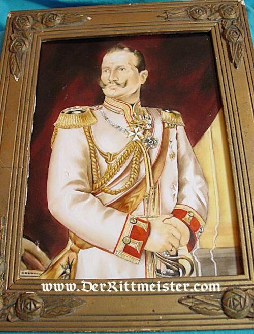HAND PAINTED, FRAMED PORCELAIN OF KAISER WILHELM II - Imperial German Military Antiques Sale