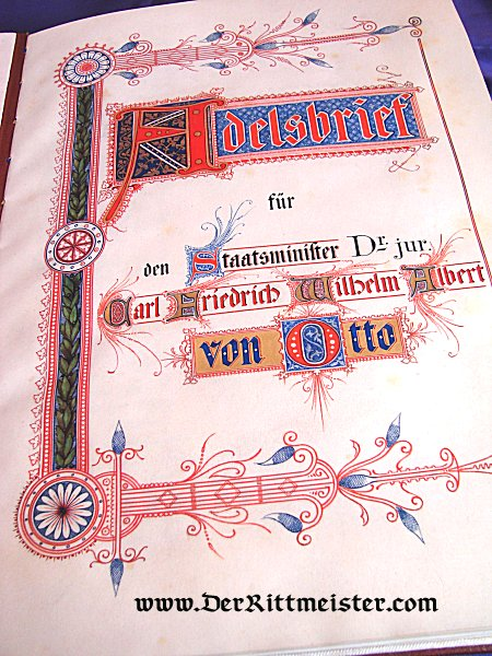 ADELSBRIEF - DUCHY OF BRAUNSCHWEIG - Imperial German Military Antiques Sale