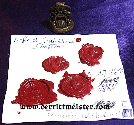 SEAL - FRIEDRICH THE GREAT - Imperial German Military Antiques Sale