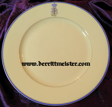 DINNER PLATE - UNIDENTIFIED ROYAL PERSONAGE - Imperial German Military Antiques Sale