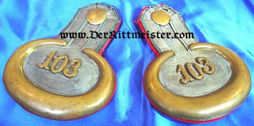 SAXONY - EPAULETTES - LEUTNANT - INFANTERIE-REGIMENT Nr 103 - Imperial German Military Antiques Sale