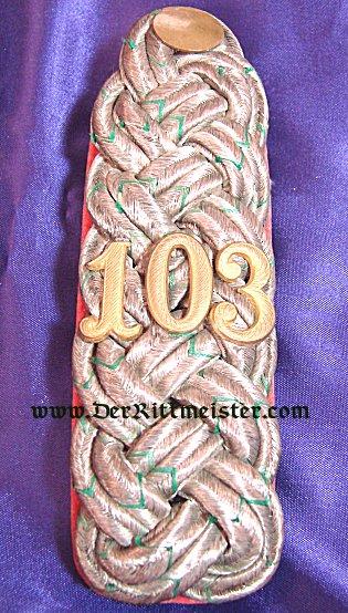 SAXONY - SHOULDER BOARDS - MAJOR - INFANTERIE-REGIMENT Nr 103 - Imperial German Military Antiques Sale