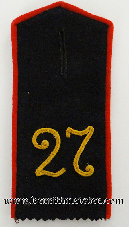 PRUSSIA - SHOULDER STRAP - ENLISTED MAN - INFANTERIE–REGIMENT Nr 27 - Imperial German Military Antiques Sale