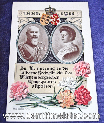 COLOR POSTCARD - 25th ANNIVERSARY - KÖNIG WILHELM II AND KÖNIGIN CHARLOTTE - WÜRTTEMBERG - Imperial German Military Antiques Sale
