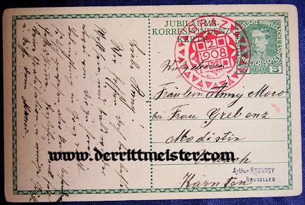 POSTCARD - 60th ANNIVERSARY - KAISER FRANZ JOSEF - AUSTRIA - Imperial German Military Antiques Sale