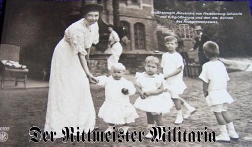 POSTCARD - GROßHERZOGIN ALEXANDRIA - SON & THREE NEPHEWS (CROWN PRINCE & PRINCESS'S SONS) - Imperial German Military Antiques Sale