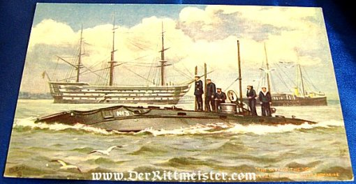 POSTCARD OF A BRITISH SUBMARINE PASSING THE 19th CENTURY SHIP OF THE LINE H.M.S. VICTORY - Imperial German Military Antiques Sale