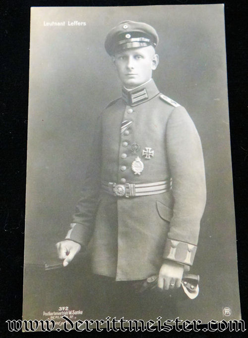 SANKE CARD Nr 372 OF PLM WINNER LEUTNANT GUSTAV LEFFERS - Imperial German Military Antiques Sale