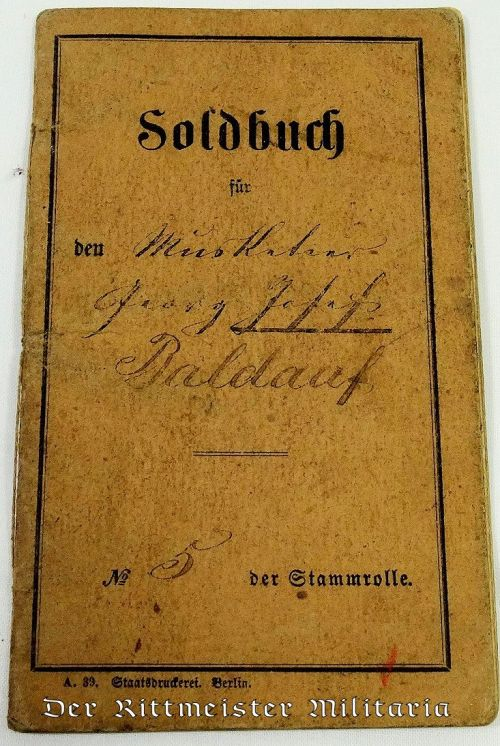 19th CENTURY SOLDBUCH - Imperial German Military Antiques Sale