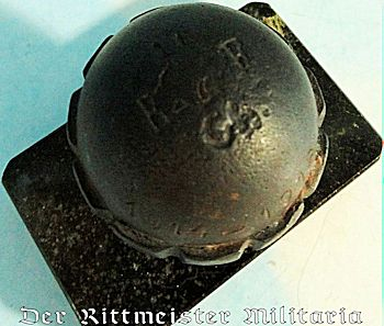 SMALL EGG-SHAPED HAND GRENADE ATTACHED TO MARBLE BASE - Imperial German Military Antiques Sale