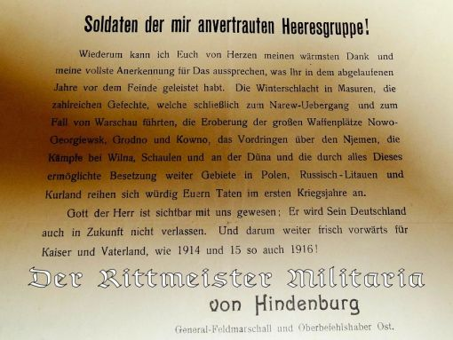 GENERAL COMMUNIQUÉ FROM THE HEADQUARTERS OF GENERALFELDMARSCHALL von HINDENBURG AS COMMANDER OF ALL GERMAN FORCES IN THE EAST - Imperial German Military Antiques Sale