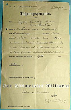 ONE-YEAR-VOLUNTEER'S CONFIRMATION-OF-SERVICE DOCUMENT - BADEN - Imperial German Military Antiques Sale