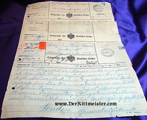 THREE TELEGRAMS FROM KAISER WILHELM II TO ARTIST FRITZ KRAUS - Imperial German Military Antiques Sale