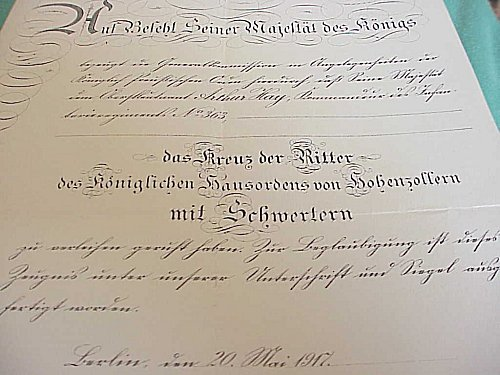 PRUSSIA - AWARD DOCUMENT GROUP TO ARTHUR HAY - Imperial German Military Antiques Sale