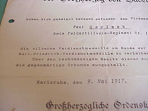BADEN - AWARD DOCUMENT FOR THE MILITARY KARL-FRIEDRICH SILVER SERVICE MEDAL - Imperial German Military Antiques Sale
