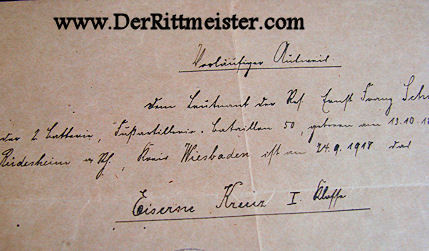 DOCUMENT AND DECORATION - 1914 IRON CROSS 1st CLASS - Imperial German Military Antiques Sale