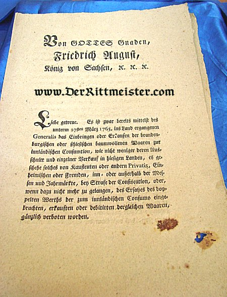 SAXON EDICT - NAPOLEONIC WARS - Imperial German Military Antiques Sale