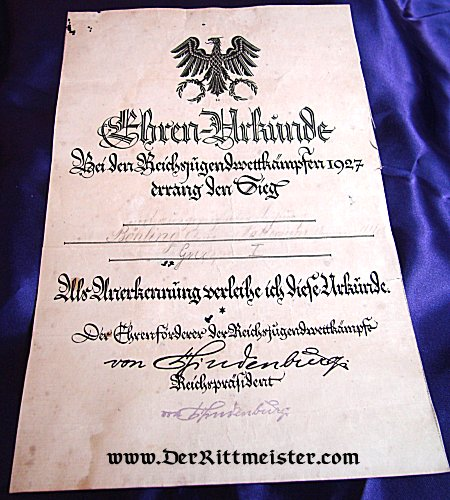 GERMANY - EHREN-URKUNDE - POST WW I - Imperial German Military Antiques Sale