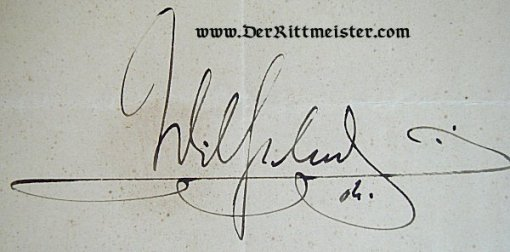 OFFICER'S ERNENNUNGSURKUNDE - SIGNED - KAISER WILHELM II - Imperial German Military Antiques Sale