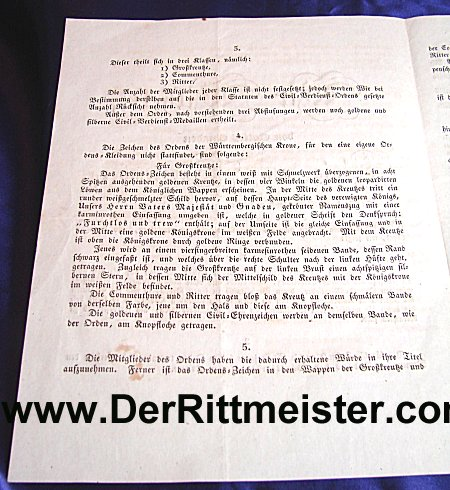 WÜRTTEMBERG - 1818 PROCLAMATION INITIATING CROWN ORDER - KING WILHELM I - Imperial German Military Antiques Sale