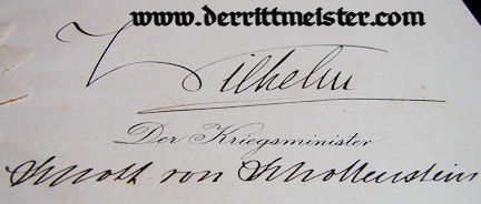 OFFICER'S PROMOTION PATENT - SIGNED - KÖNIG WILHELM II - WÜRTTEMBERG - Imperial German Military Antiques Sale