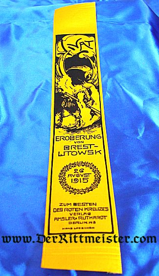 VIVAT RIBBON - BATTLE OF EROBERUNG AND BREST-WTOWSK - Imperial German Military Antiques Sale