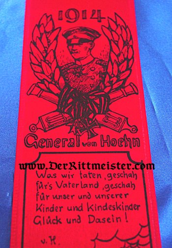 VIVAT RIBBON - BATTLE OF ST. MIHIEL AND GENERAL von HOEHN - Imperial German Military Antiques Sale
