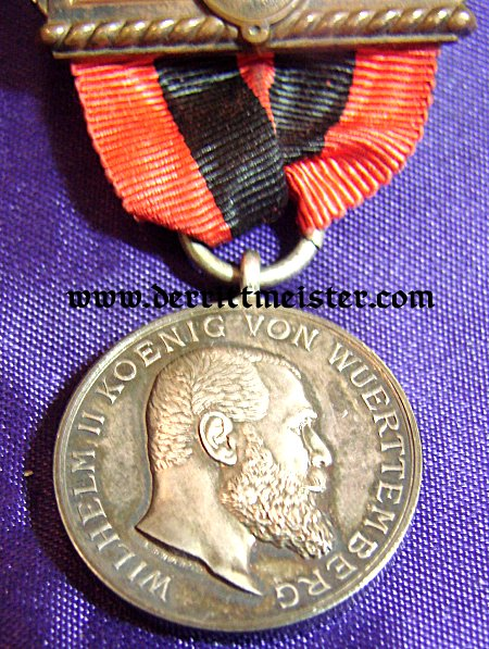 ANERKENNUNGSMEDAILLE der KÖNIG-KARL-JUBILÄUMS-STIFTUNG (ACKNOWLEDGMENT MEDAL of the KING KARL ANNIVERSARY FOUNDATION) KÖNIG WILHELM II 1893-1921 -WÜRTTEMBERG - ORIGINAL PRESENTATION CASE - Imperial German Military Antiques Sale