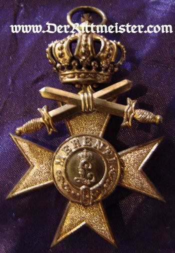 MILITARY SERVICE CROSS 3rd CLASS WITH CROWN AND SWORDS - BAVARIA - Imperial German Military Antiques Sale