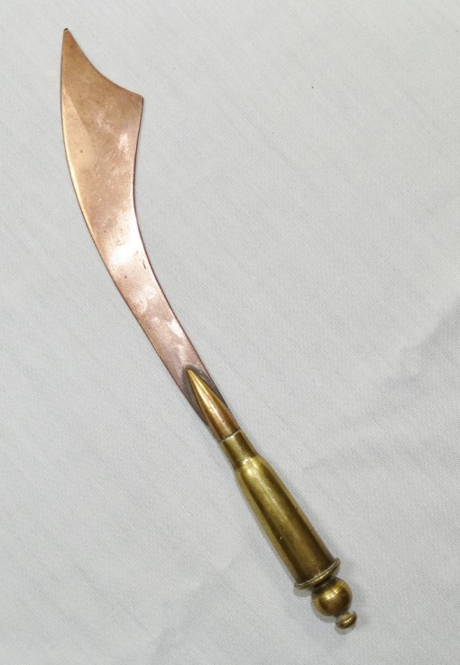SCIMITAR-SHAPED TRENCH ART LETTER OPENER - Imperial German Military Antiques Sale