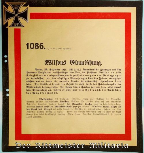 GERMANY - COMMUNICATION - OFFICIAL WAR COMMUNIQUÉ Nr 1086 ANNOUNCING 22 DECEMBER 1916's WAR NEWS - Imperial German Military Antiques Sale
