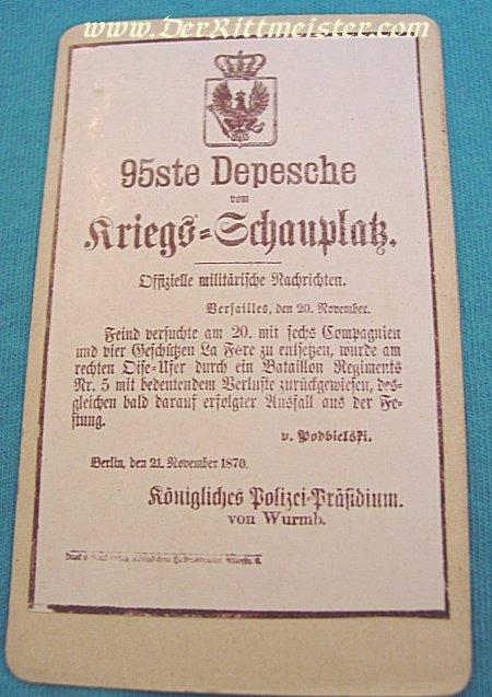 PRUSSIA - CARD ALBUM - KRIEGS-DESPESCHEN 1870 & 71 - Imperial German Military Antiques Sale